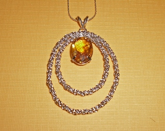 Citrine Necklace ON SALE - Yellow Citrine, Sterling Silver, and Rhodium Necklace - November Birthstone Necklace