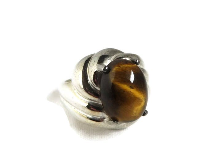 Vintage Tiger Eye Ring, Sterling Silver Ring, Cocktail Ring, Swirl Band Ring, Statement Jewelry, Gift For Her