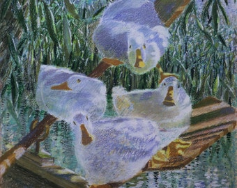 "Ducks greeting card, ""Oarsome Foursome"""