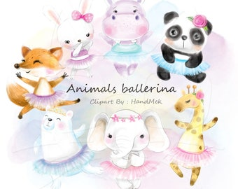 Cute animals ballerina clipart Instant Download PNG file - 300 dpi