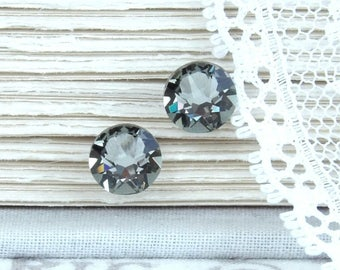 Gray Stud Earrings Gray Swarovski Studs Rhinestone Studs Gray Crystal Studs Surgical Steel Studs Gray Jewelry