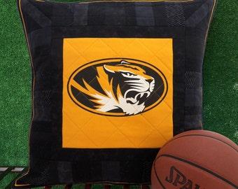Missouri Tigers Pillow Sham   Mizzou Pillow Cover   MU Pillow Sham   Truman the Tiger   University of Missouri Black and Gold   Quilted Sham