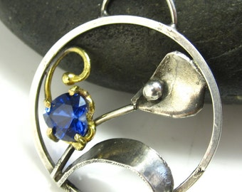 In Spring The Sapphire Blooms - Sapphire, 14k and sterling silver necklace