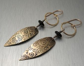 Etched Brass Earrings - Long Dangle Earrings - Brass and Black Glass Bead Earrings