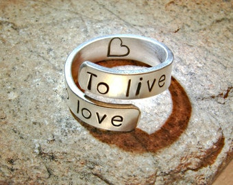To live To love sterling silver bypass ring - Solid 925 Wrap Ring RG224