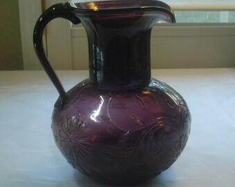 Purple Glass, Jug, Pitcher, Raised Flowers, Matching Handle, Vintage Glass, Oddly Attached, Handle, Flowers, Vines, Dark Purple, Flower Vase