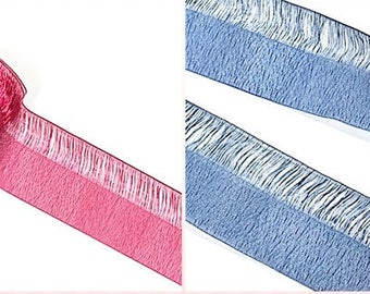 """10 YDs x 25mm(1"""") Fancy Shaggy Pearled Chiffon Double Face Ribbon Tape Trim(18 Colors)"""