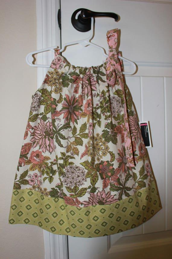 Girls Floral Dress, Handmade dress, Pillowcase style dress, Baby Pink Dress, Toddler Pink Dress, Tween Dress, Easter Sundress