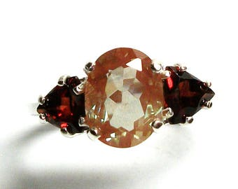 "Feldspar ring, salmon feldspar, multi stone ring, salmon red, feldspar  garnet ring, three stone, anniversary ring 6 3/4   ""Amber Honey"""