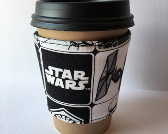 Coffee Cozy- Star Fighters Fabric Print Coffee Sleeve- Reusable Hot or Cold Beverage Sleeve