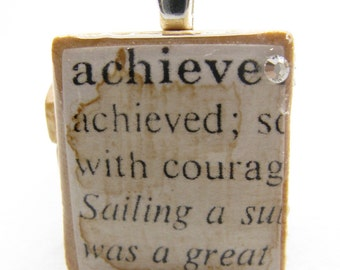 Achieve 2 - vintage dictionary Scrabble tile with Swarovski crystal