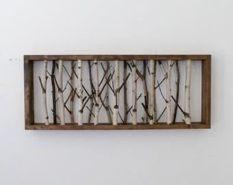 white birch forest wall art - 30 x 12, birch branch decor, birch log, wall hanging, modern rustic wall decor, framed birch art