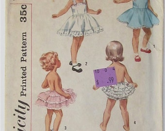 Slip With Back Buttoned Bodice Full Circle Skirt Pantie With Ruffles Girl's Size 6 Used Vintage Sewing Pattern Simplicity 3296