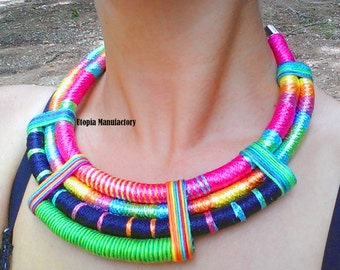 Rope Necklace, Statement Necklace, African Rope Necklace, Ethnic Statement Necklace, African Necklace, Bib Necklace, Tribal African Jewelry