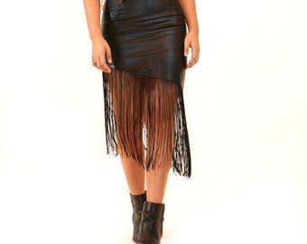 90s Black Leather Fringe Mini Skirt, Bohemian Skirt - Gift for Her - Birthday Gift - Sale - Mother's Day