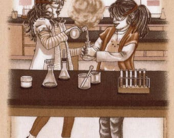 """Sewing """"Chemistry class!"""" fabric Textile applications sepia style for your creations"""