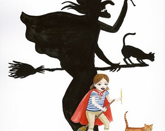 5x7 Art Print Illustration Watercolor - Girl Pretends to be Witch, Child imagination, cat, Open Edition