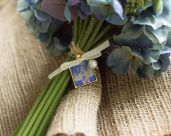Wedding Bouquet Memorial Photo Charm, Gold Wedding Bouquet Charm- PICTURE PRINTING INCLUDED