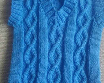 Hand knitted baby boy's sleeveless sweater in blue 6-12 months