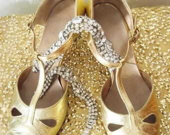 1930's Old Hollywood Art Deco Movie Star Metallic Gold Shoes