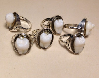 LAST ONE - Tooth Fairy Series: Real Human Molar Antique Silver Size 6 Ring - SILVER