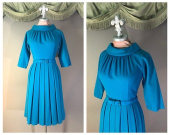 50s dress 1950s vintage TURQUOISE BLUE PLEATS wool fit and flare full skirt dress