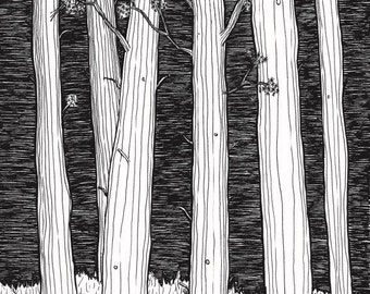 Black and white art, wall art prints, original art, Tree art print, tree picture, nature lover, Tolkien, Pen and ink, line drawing