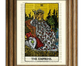 The Empress Major Arcana Tarot Card deck print over an upcycled vintage dictionary page book art