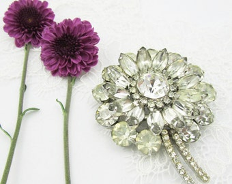 Rhinestone Bridal Brooch, Crystal Brooch, Vintage Inspired, Bridal Accessories