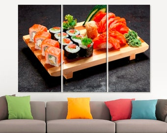 Sushi Canvas Art Japanese Decor Sushi Gift Sushi Art Japanese Restaurant Decor Sushi Lover Gift Japanese Wall Art  Kitchen Art Japanese Art