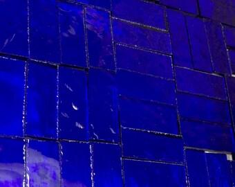 25 COBALT BLUE 3/8 X 1 Transparent Stained Glass Border Tiles J3