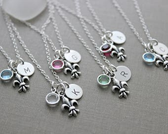 Sterling Silver Fleur De Lis Lily Wedding Party Necklaces- Bridal Party Set of 3 4 5 6 New Orleans with Birthstone and  Mini Initial Disc