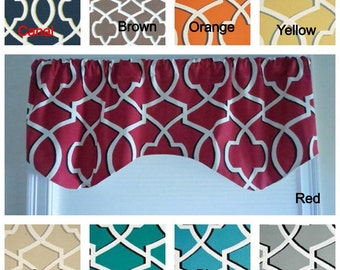 Kitchen window valance, any color, premier print fabric, lining window valance, rod pocket valance