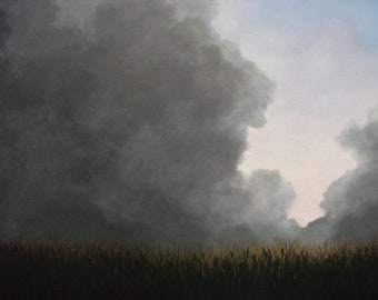 Storm, Clouds, Summer, Rain, Corn Field, Field, Original Landscape Oil Painting