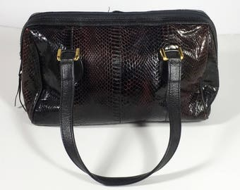 Vintage 1980s Aspects Genuine Snakeskin Very Dark Brown Handbag With Leather Straps