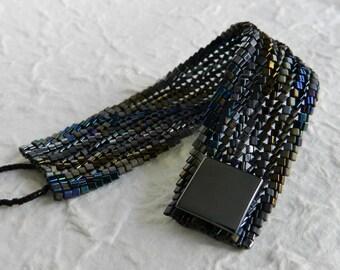 Midnight Slant Ndebele Cuff Bracelet