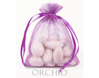 100 Radiant Orchid Favor Bags, 4 x 6 Inch Sheer Organza Favor Bags