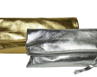 CLUTCH from leather silver or gold handbag evening bag silver clutch golden bag