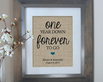 One Year Down Burlap Print, 1 Year Anniversary Gift, Gift for Husband, Gift for Wife 1st Anniversary Gift for Husband, Wedding Anniversary