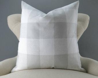 Gray Plaid Pillow Cover -MANY SIZES- Big Check Pattern, Buffalo Plaid, Euro Sham, Decorative Throw, Anderson French Gray Premier Prints