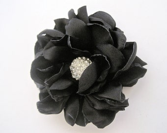 Beautiful Black Satin Flower Hair Clip with Rhinestone Accent Bridesmaid Mother of the Bride Prom