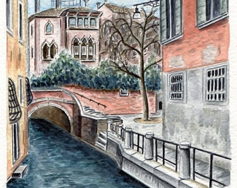 REPRODUCTION of my original watercolor: Campiello Barbaro, Venice.