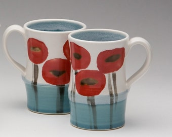 Poppy mug with Turquoise blue