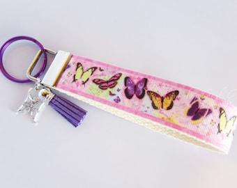 Butterfly Key Fob - Butterfly Keychain - Monarch Butterfly Key Holder - Pastel Butterfly - Butterfly Collector Gift - Butterfly Wristlet