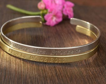 Custom Bracelet, Engraved, Coordinates, Silver or Gold Colour Cuff, Gift, Shiny Bangle, Personalized Jewelry, AtelierWhiteMouse