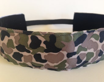 Tan, Green and Black Camouflage No Slip Headband- 1.5 inches wide