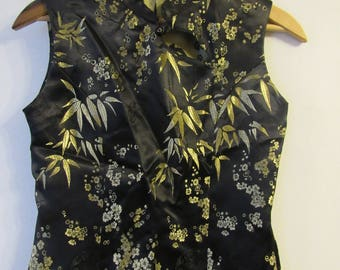 Black and Gold Asian Top * Cheongsam * Anime * Steampunk * Festival * Hipster * Anime