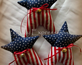 Primitive Patriotic Star Bowl Fillers | Americana decor | Red white blue decor | Fourth of July decoration | USA decorations