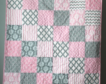 Baby Quilt Girl-Modern Baby Quilt-Pink and Grey Baby Bedding-Pink Grey Quilt-Baby Pink Crib Quilt-Pale Pink Baby Bedding-Homemade Baby Quilt