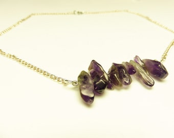 Amethyst Gemstone Bar Necklace | Gemstone Necklace | Amethyst Necklace